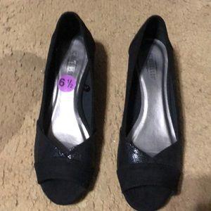 Black peeptoe wedge heels